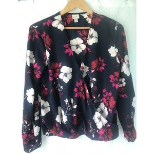 A New Day floral faux-wrap shirt.